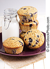 Healthy blueberry banana muffins with milk