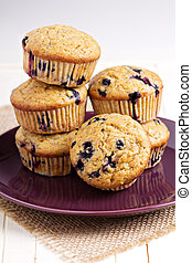 Healthy blueberry banana muffins on a plate