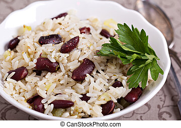 Rice with red beans with fresh parsley