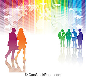 Business meeting - Man and a woman are coming up to a group...