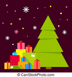 Vector illustration of the Christmas tree and piles of...