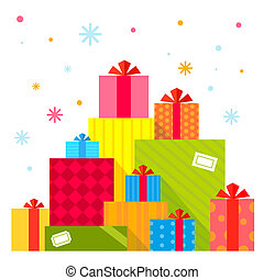 Vector Christmas illustration of the piles of presents on...