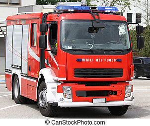 italian fire truck during an emergency - Red fire truck...
