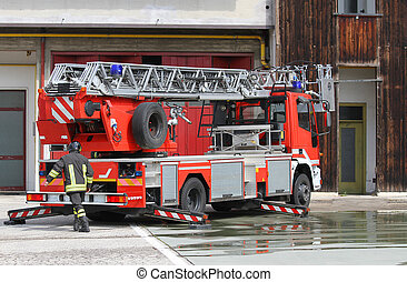 fire truck of Italian firefighter during during an emergency...