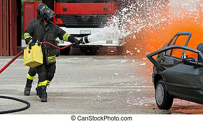 Firefighter with helmet off the car during a practice...