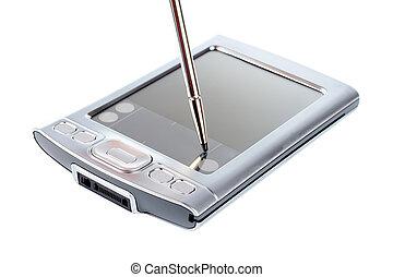 Stylus on screen of PDA