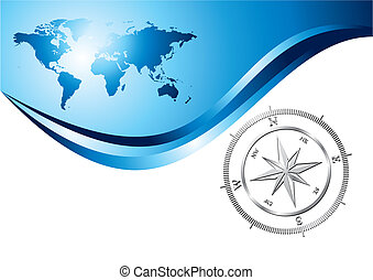 Compass background - Silver compass with world map...