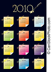 Calendar for year 2010 with colorful sticky notes