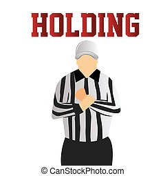 football - a referee doing a holding signal on a white...