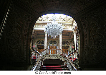 Dolmabahce palace in Istanbul - Crystal staircase of...
