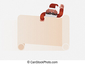 Santa claus hand up and sheet note write something by...