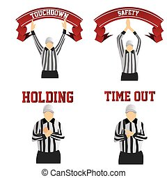 football - a set of different referee signals on a white...