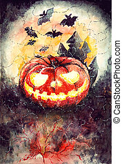 Halloween Party Design template - halloween watercolor...