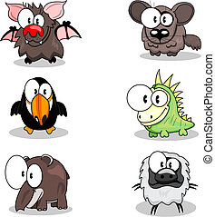 Cartoon animals - Some cartoon animals (bat, toucan, tapir,...