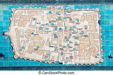 Uzbekistan - Itchan Kala mosaic map, Khiva, Uzbekistan....