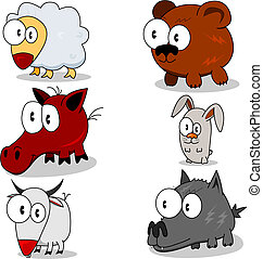 Cartoon animals - Some cartoon animals lamb, horse, goat,...