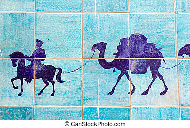 Uzbekistan - Details of the the map of the Silk Road at the...