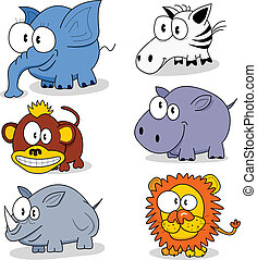 Cartoon animals - Some cartoon animals elephant, monkey,...