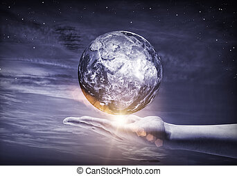Our Earth planet - Human hand holding Earth planet. Elements...