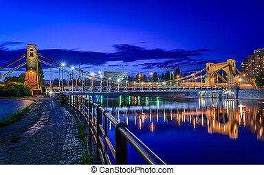 Wroclaw by night Most Grunwaldzki - Grunwaldzki Bridge is a...