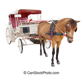 horse fairy tale carriage cabin isolated white background...