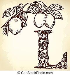 lemon Letter L - Letter of the alphabet L. A branch of a...
