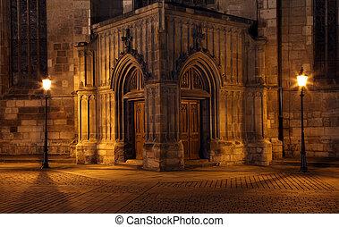 Gateway Church at night in Pilsen