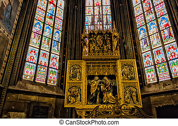 Decal of St Vitus Cathedral in Prague - Decal window...