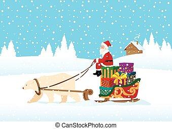 Santa Claus delivering presents