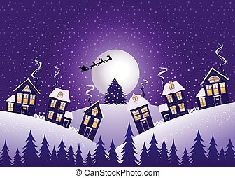 Violet Christmas night - Christmas night, vector...