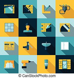 Home repair icons - Home repair diy renovation icons set...