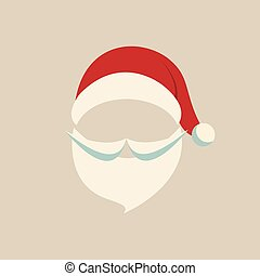 santa hat and beard beige background