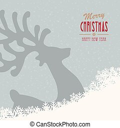 reindeer merry christmas snowy background
