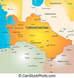 Turkmenistan - Vector color map of Turkmenistan
