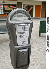 Parking meter in a dutch street.
