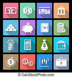Money Finance Icons - Bank service money flat icons set with...