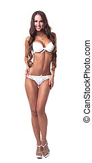 Gorgeous woman posing in white erotic lingerie