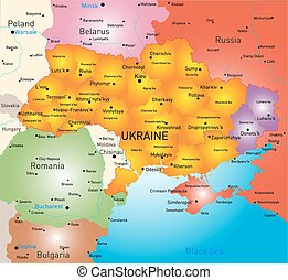 New map Ukraine - New vector color map of Ukraine without...