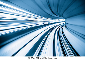 abstratos, trem, em movimento, túnel