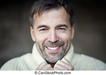 Mature Man Smiling - Copy Space, Lifestyles, Human Face,...
