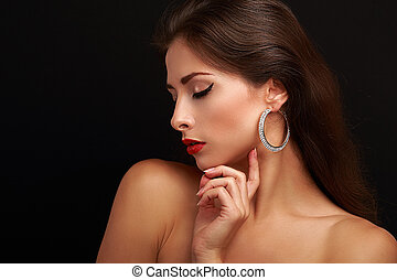 Beautiful woman makeup face profile with closed eyes. Black...