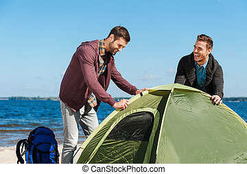 Setting up a tent. Two cheerful young men setting up a tent...