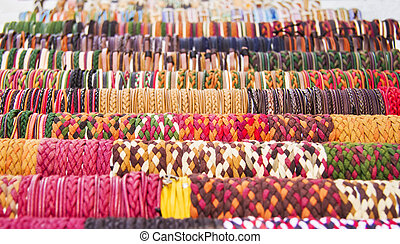 Rows Of Colorful Bracelets At A Street Market