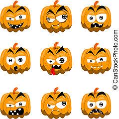 Cartoon halloween pumpkins