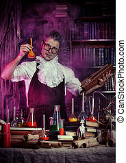 alchemy - Portrait of a crazy medieval scientist working in...