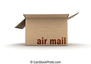 cardboard - empty air mail cardboard - isolated 3d render...