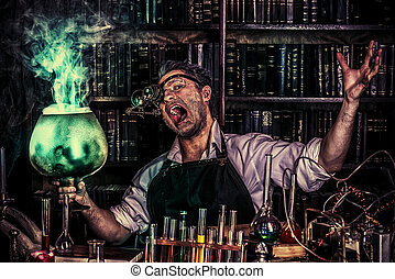 wizard man - Portrait of a crazy medieval scientist working...