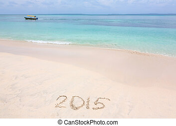 Year 2015 number written on sandy b - Year 2015 number,...