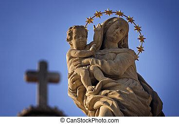Virgen, maría, estatua,  Jesús