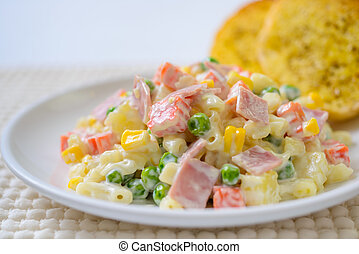 Pasta salad with ham And a variety of vegetables - Pasta...